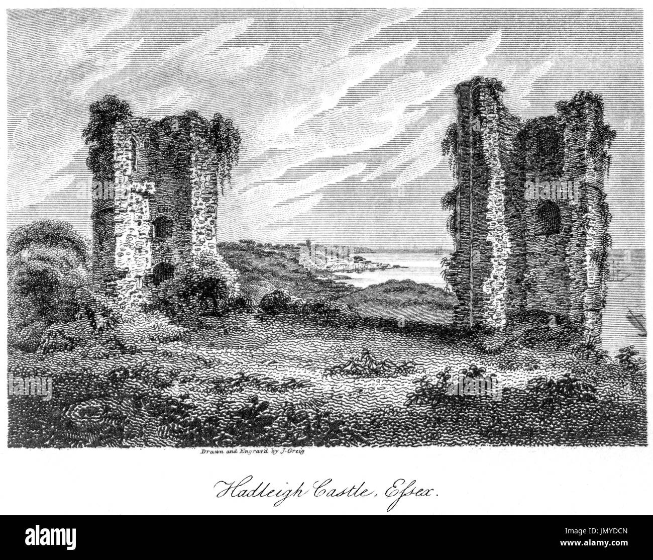 An engraving of Hadleigh Castle, Essex scanned at high resolution from a book printed in 1808.  Believed copyright free. - Stock Image