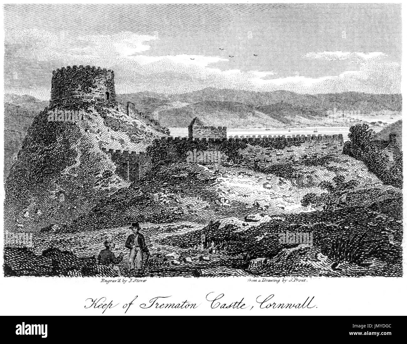 An engraving of the Keep of Trematon Castle, Cornwall scanned at high resolution from a book printed in 1808.  Believed copyright free. - Stock Image