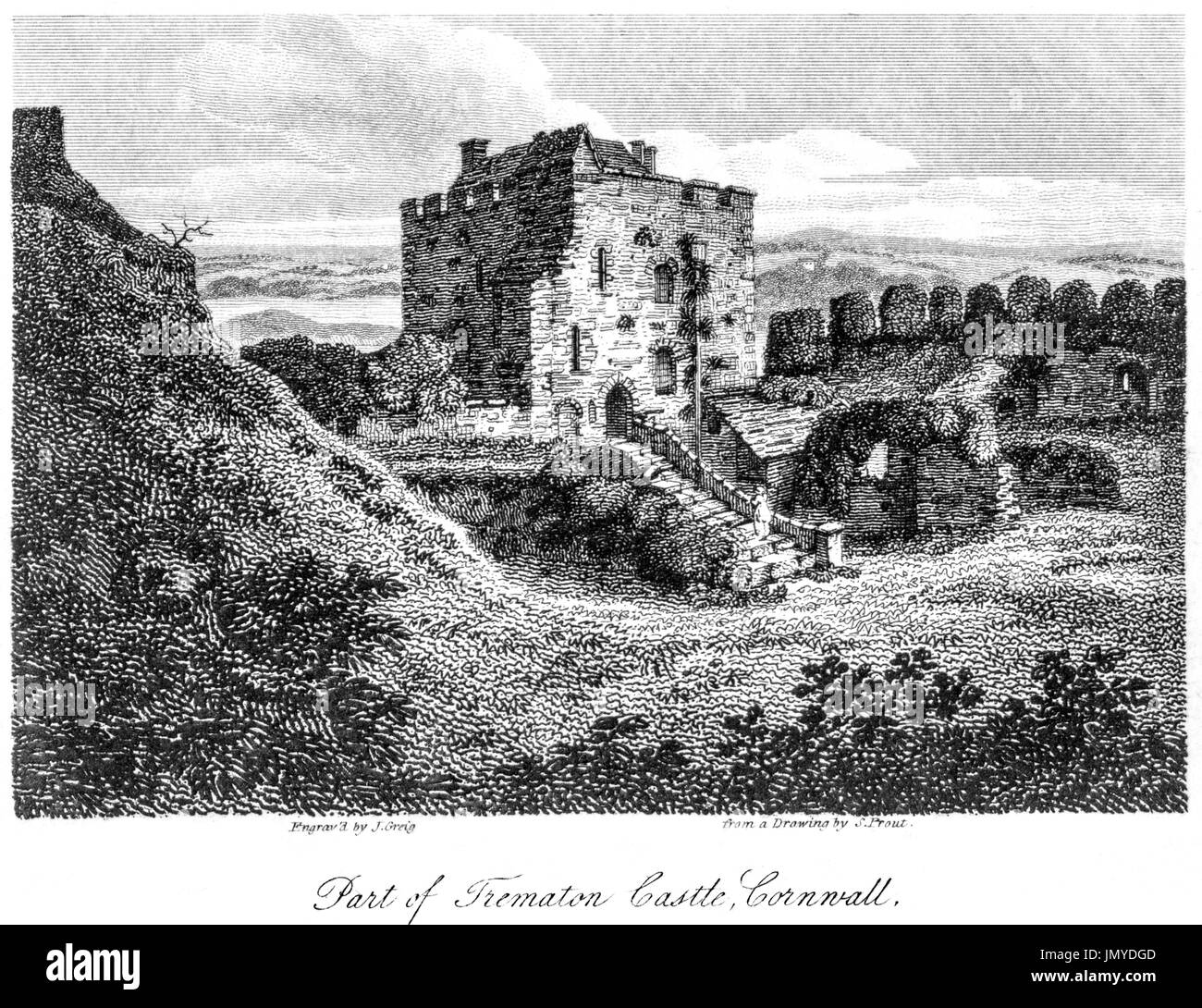 An engraving of Part of Trematon Castle, Cornwall scanned at high resolution from a book printed in 1808. Believed copyright free. - Stock Image