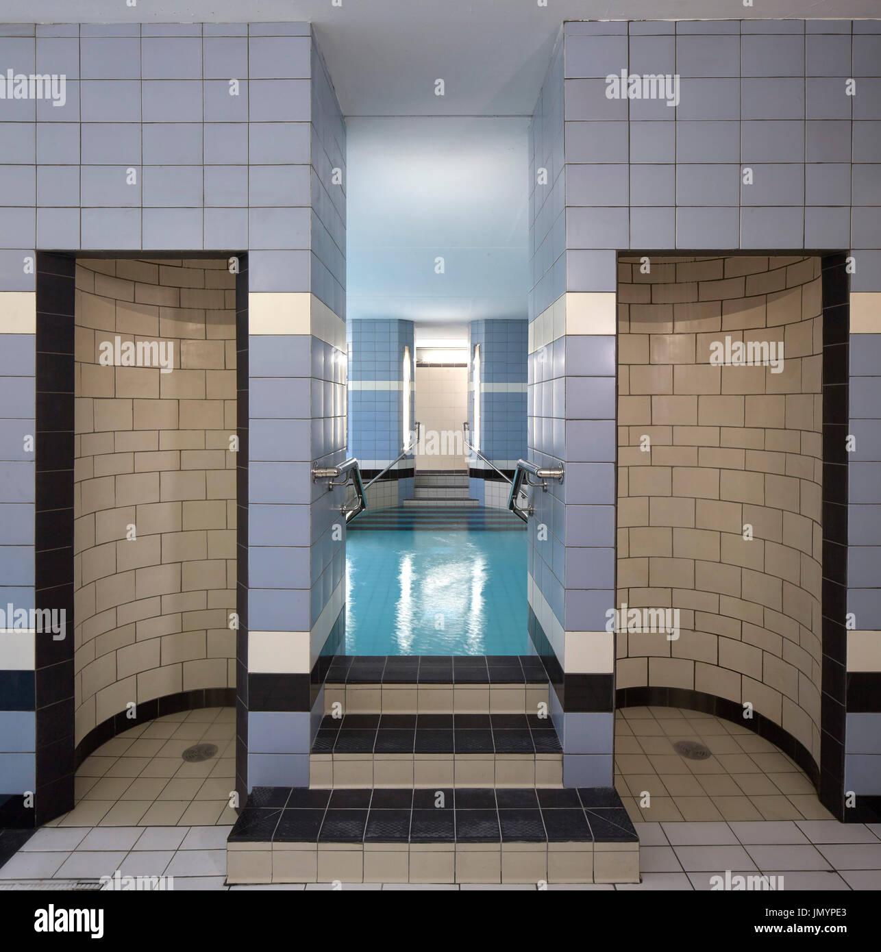 Pool in basement. Poplar Baths Leisure Centre, London, United Stock ...