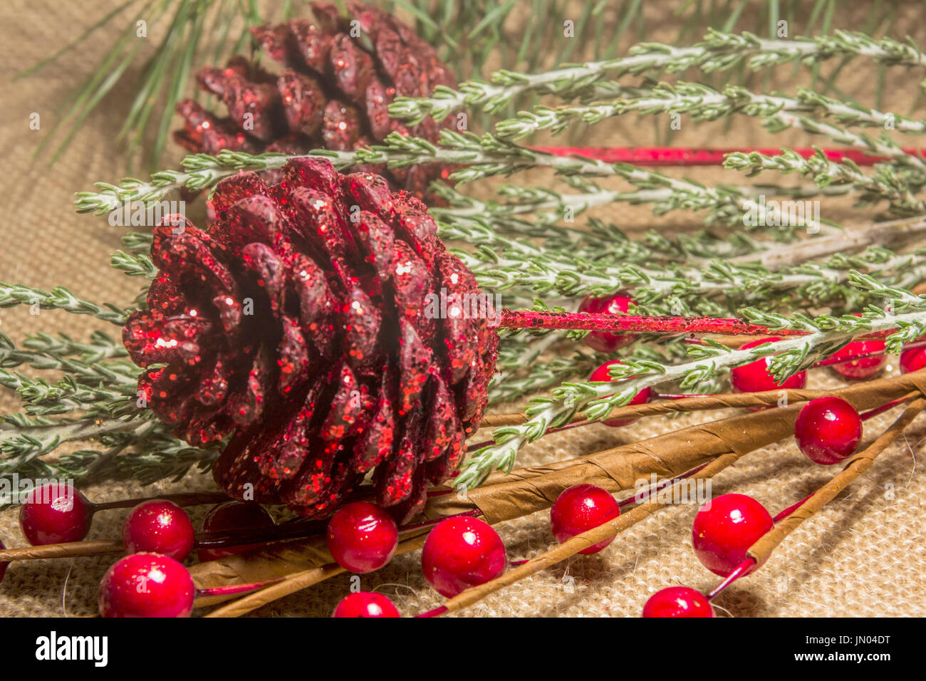 Christmas Decorations with Pine Cones and Berries - Stock Image