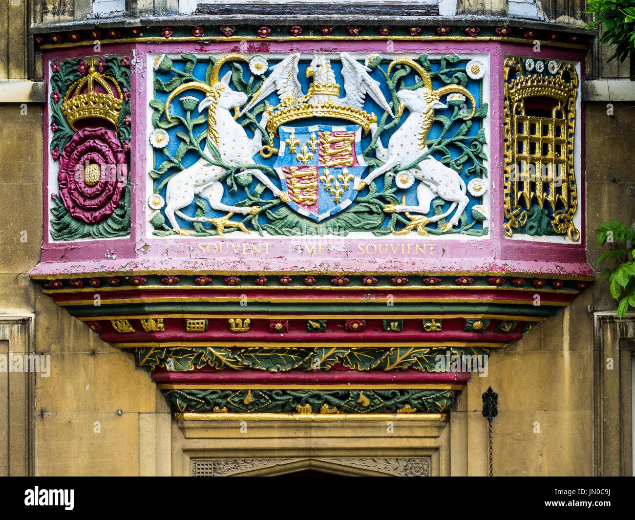 Christ's College Cambridge.  Decoration on the Master's Lodge at Christ's College, Cambridge University in the UK. The College was established in 1505 - Stock Image