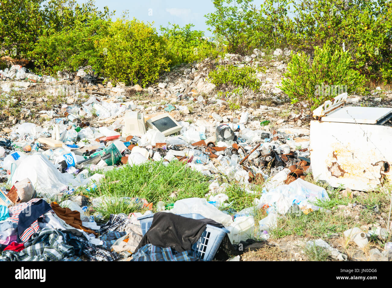 Environmental hazzard liteer and rubbish carelessly dropped without concern for affects - Stock Image