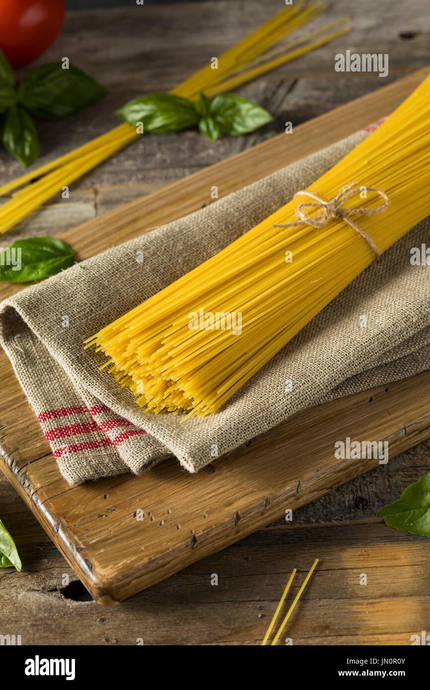 Dry Organic Angel Hair Spaghetti Pasta Ready To Cook Stock Photo