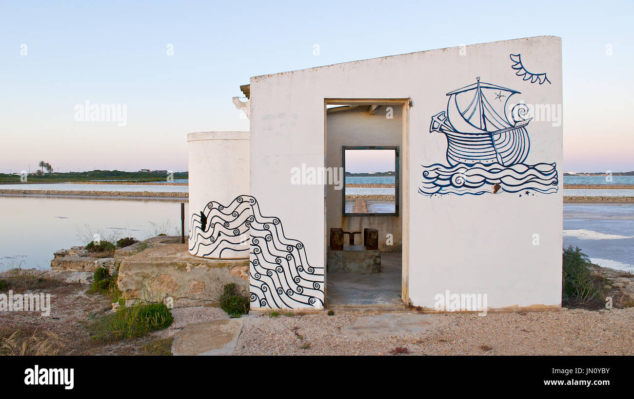 Old abandoned facilities of the saltworks at Ses Salines Natural Park (Formentera, Balearic Islands, Spain) Stock Photo