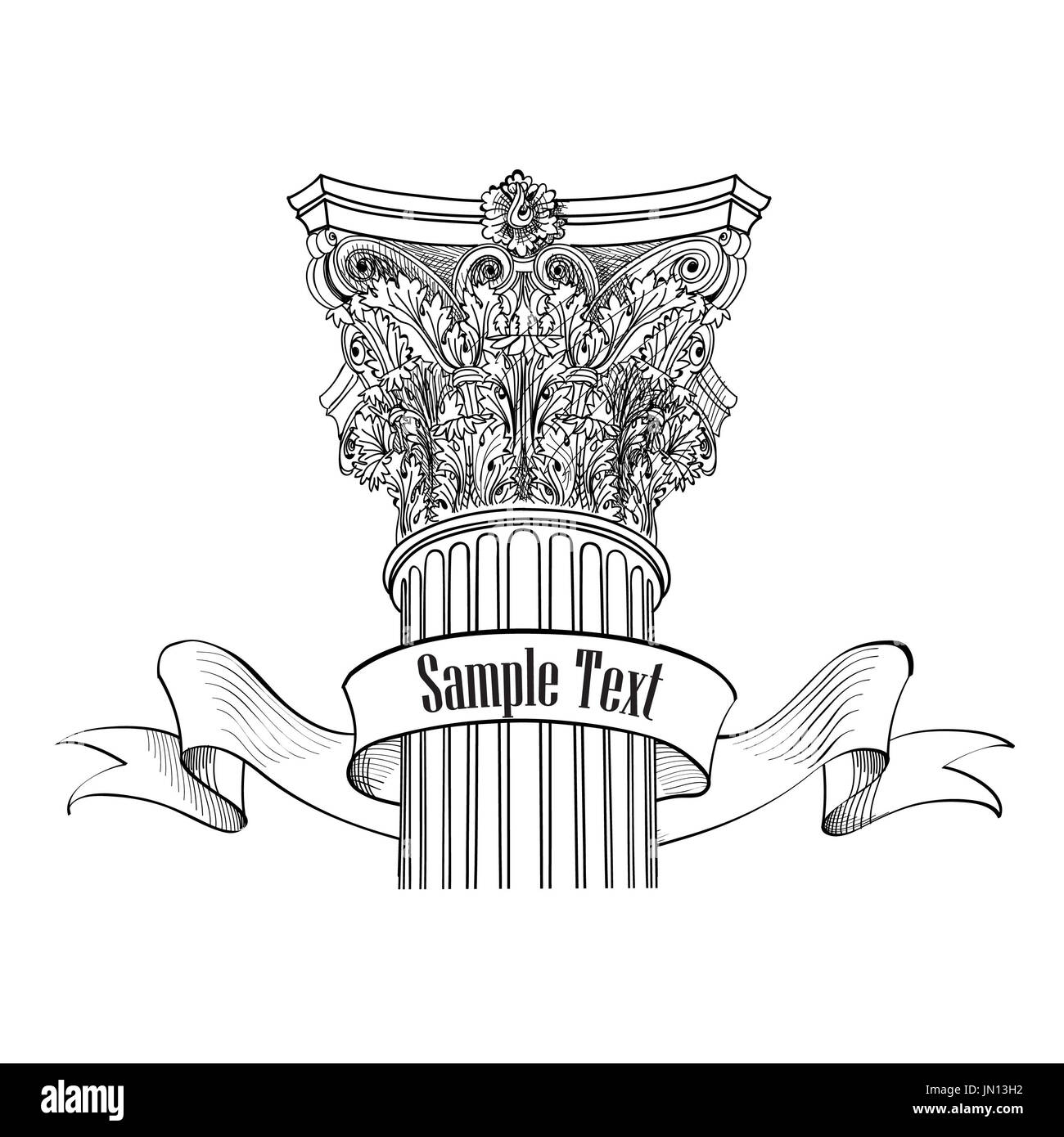 iosolated Roman sign column design column Arhitectural Arch label style Classic sketch wXqP66