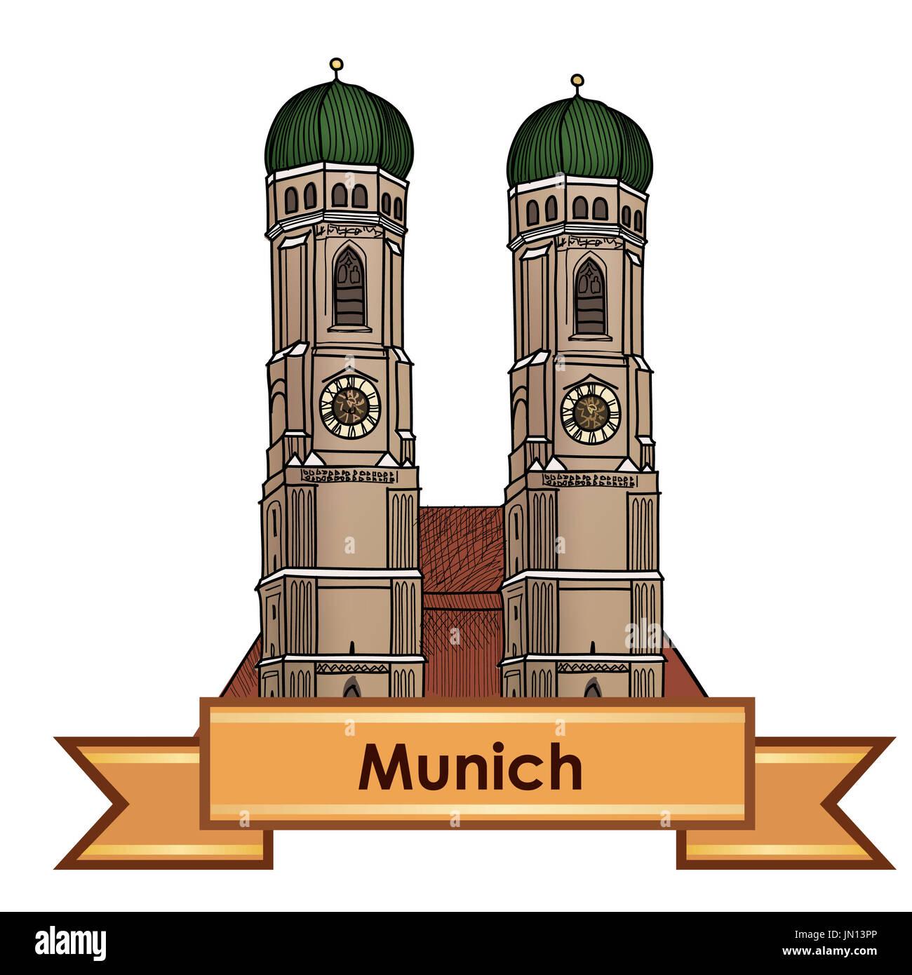 Munich city label. Munich Cathedral, Liebfrauenkirche in Munich/ Travel Germany emblem. Bavaria capital sign. - Stock Image
