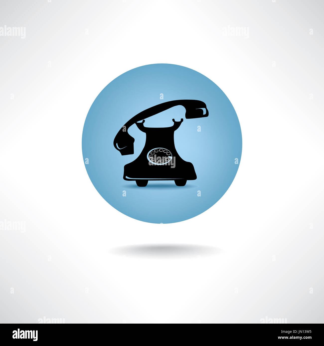 Old phone icon. Retro communiation symbol. Handset sign - Stock Image