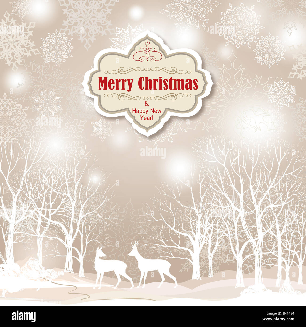 snow winter landscape with two deers merry christmas background with JN1484
