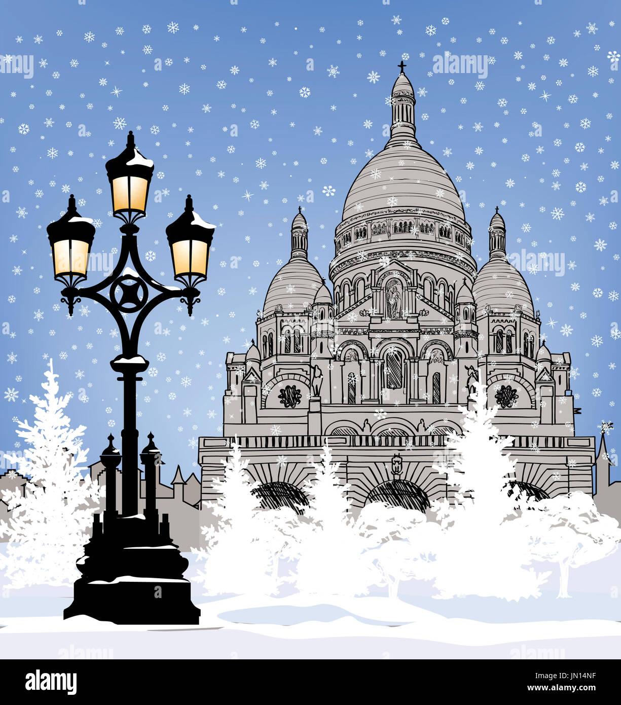 Snowy City Wallpaper Winter Holiday Snow Background Paris