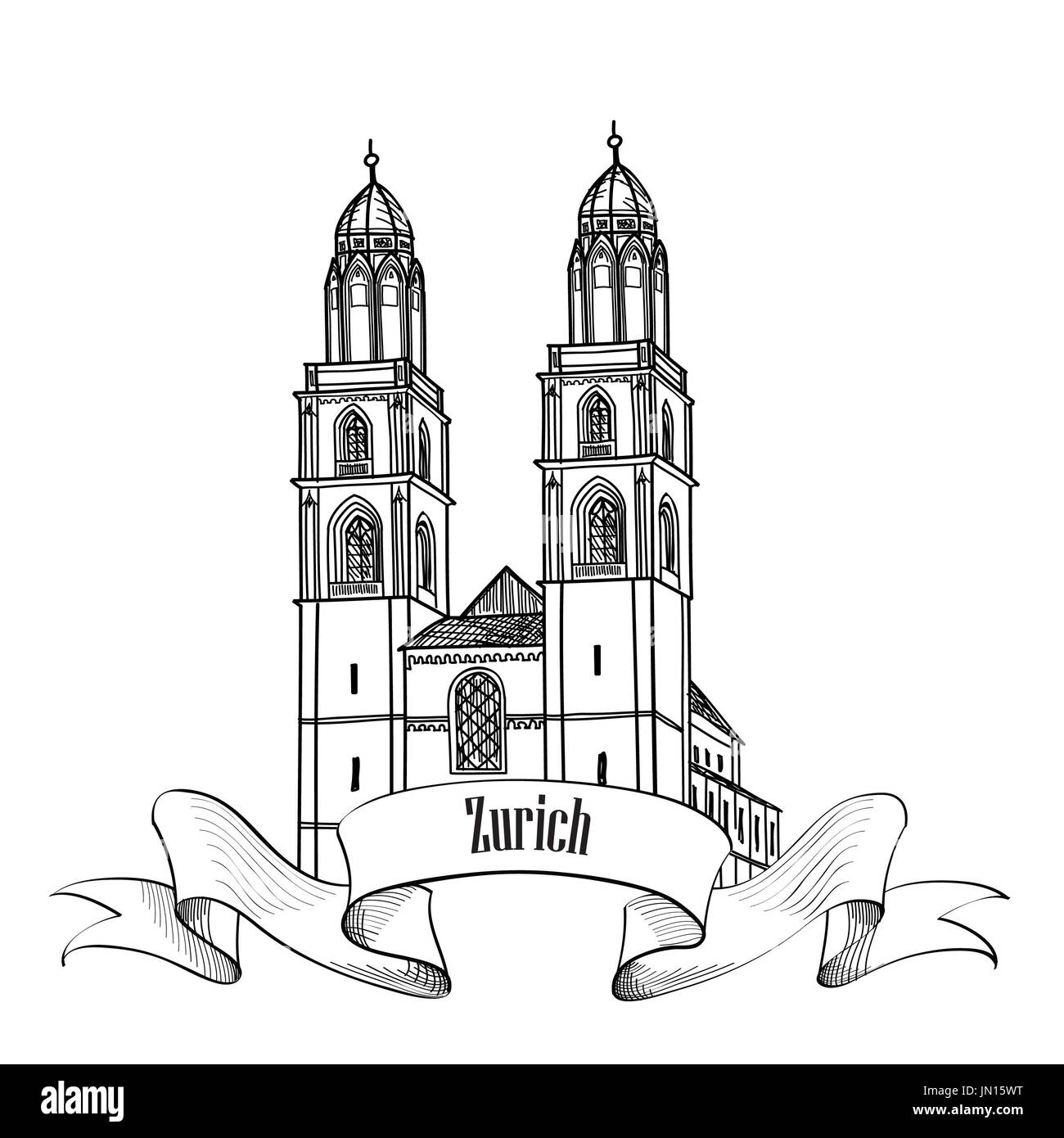 Zurich. City landmark Great Minster label. Symbol of the capital of Switzerland. - Stock Image
