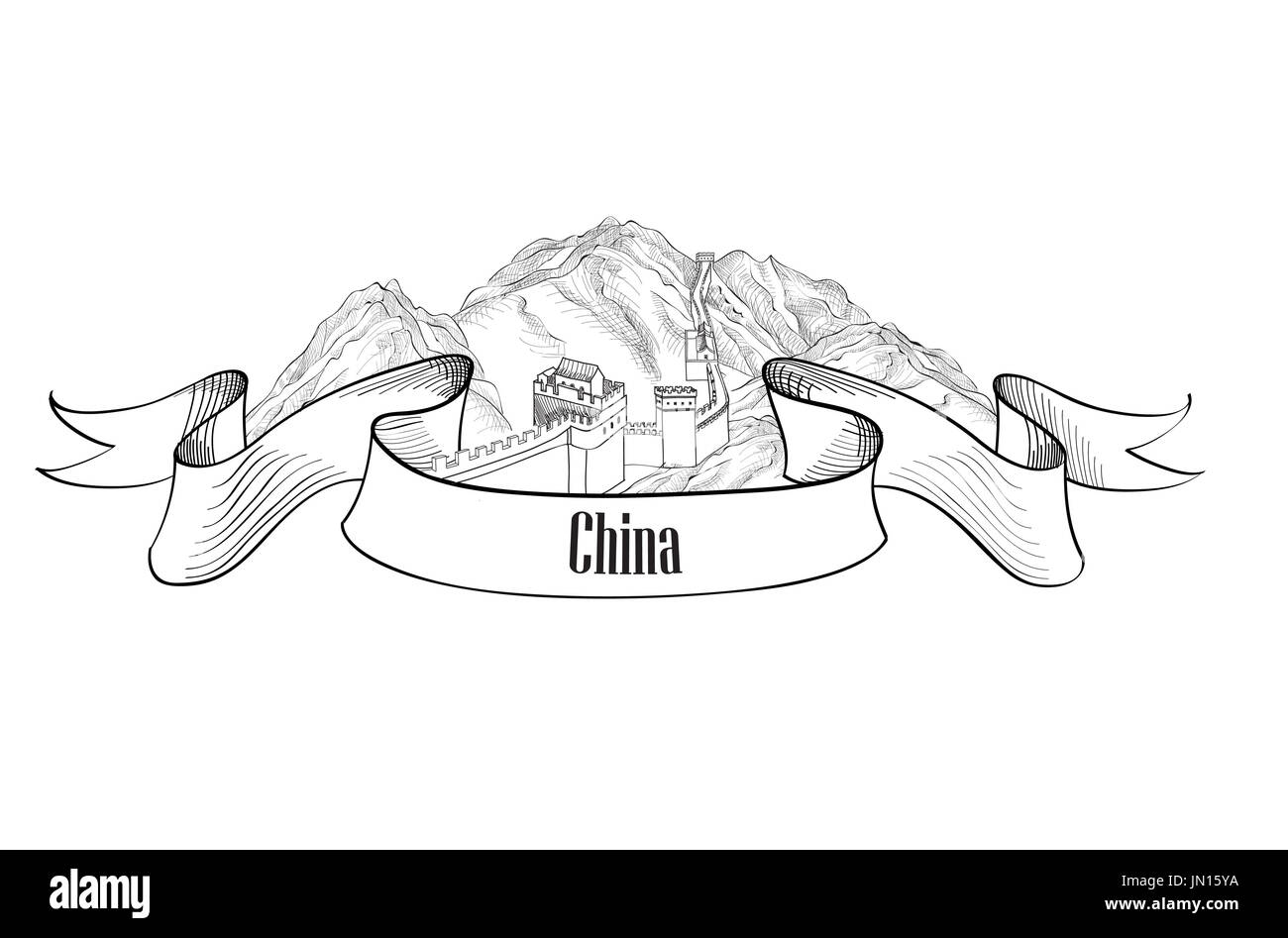 China label. Travel Asia label. The Great Wall of China symbol sketch isolated. - Stock Image