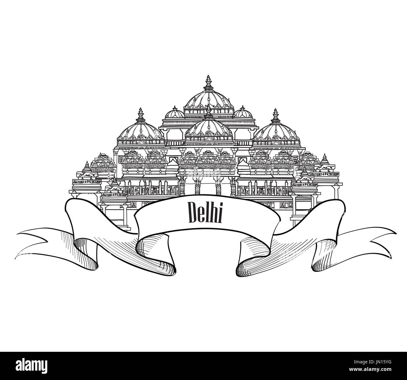 Delhi travel label.  Indian Landmark symbol. Akshardham, Delhi, India. - Stock Image