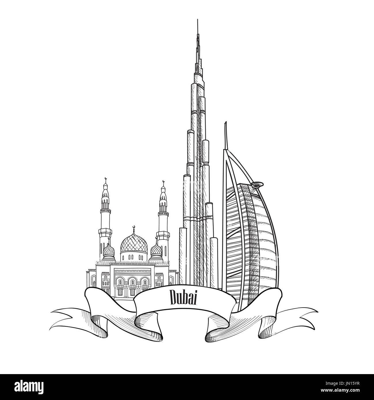 Dubai skyline cut out stock images pictures alamy travel uae symbol dubai city label stock image buycottarizona Gallery
