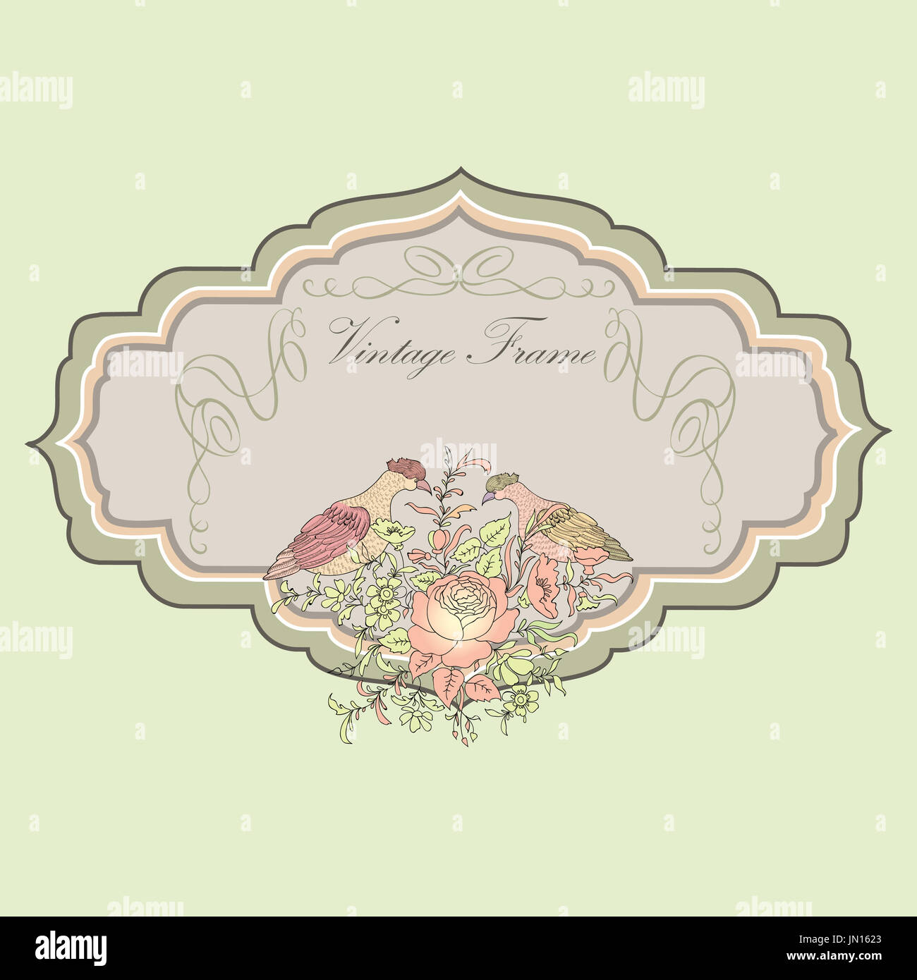 Floral Spring Card Birds And Flowers Vintage Label Or Banner Stock Photo 150617435