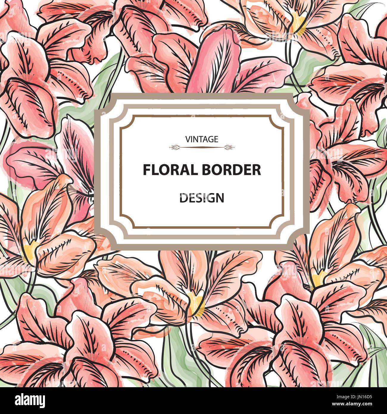 Floral border. Flower bouquet background. Vintage flourish spring ...