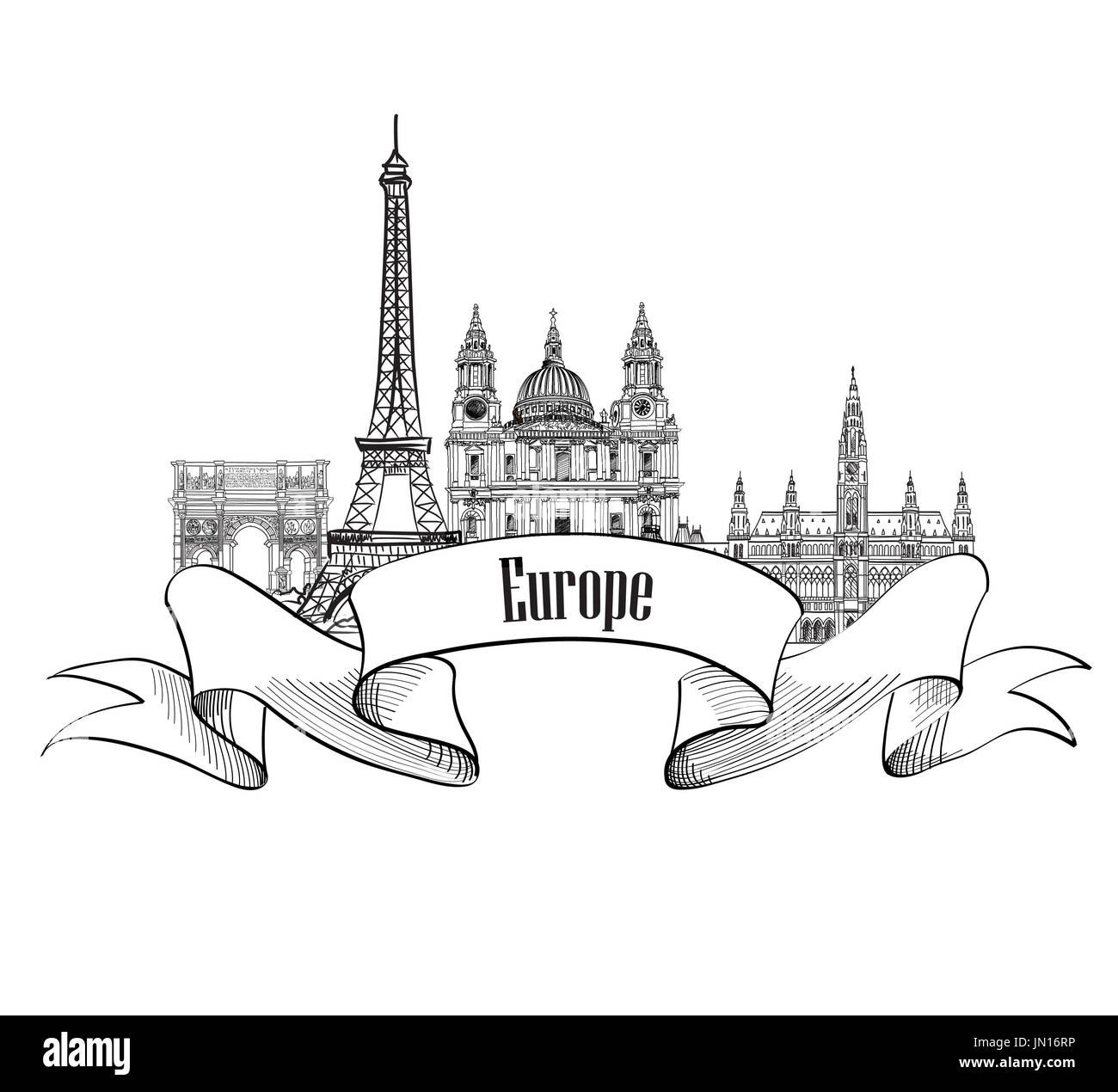 Travel Europe label. Famous buildings and landmarks. European capital city emblem. - Stock Image