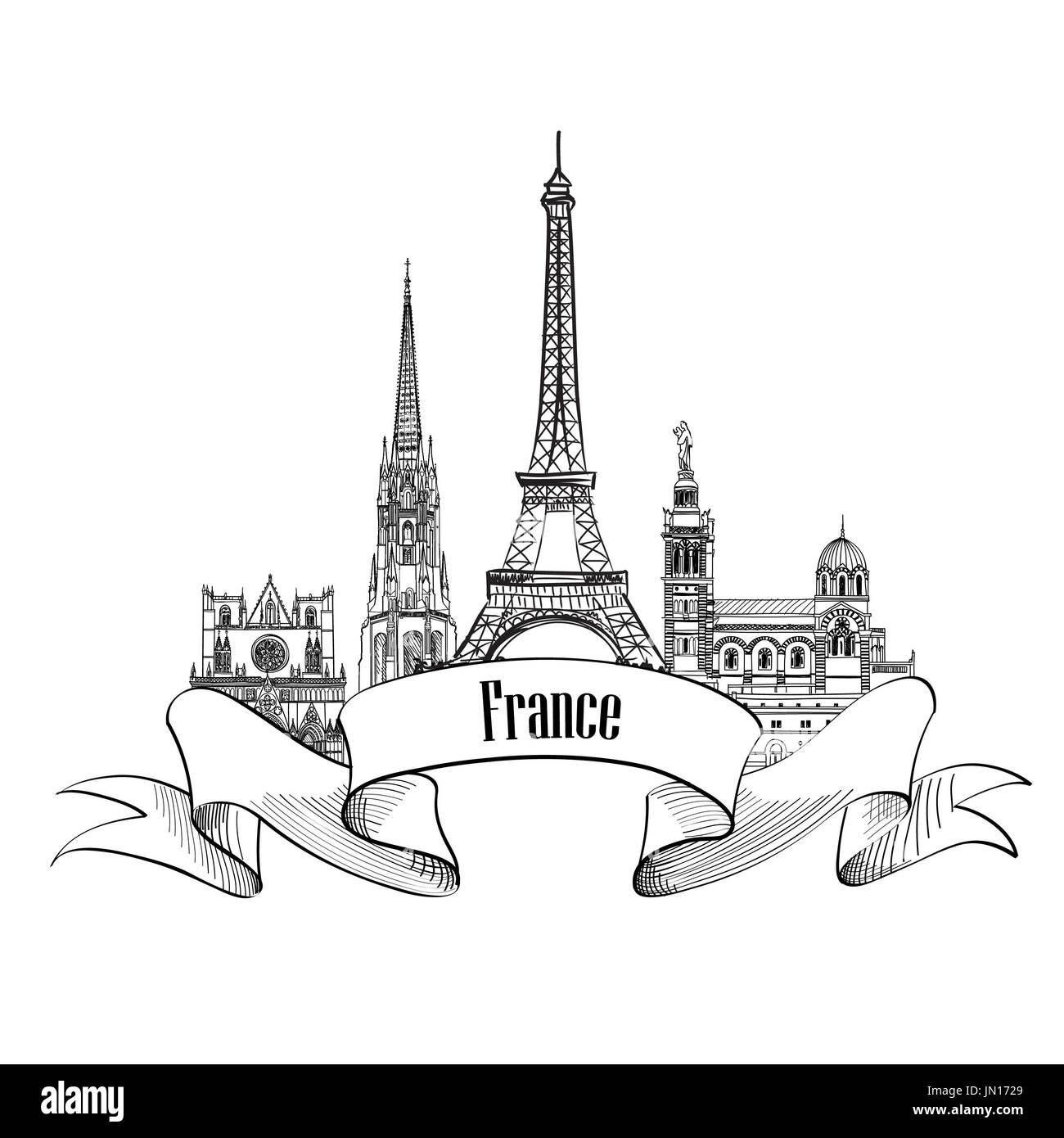 France label. Famous french architectural landmarks. Visit France banner. - Stock Image