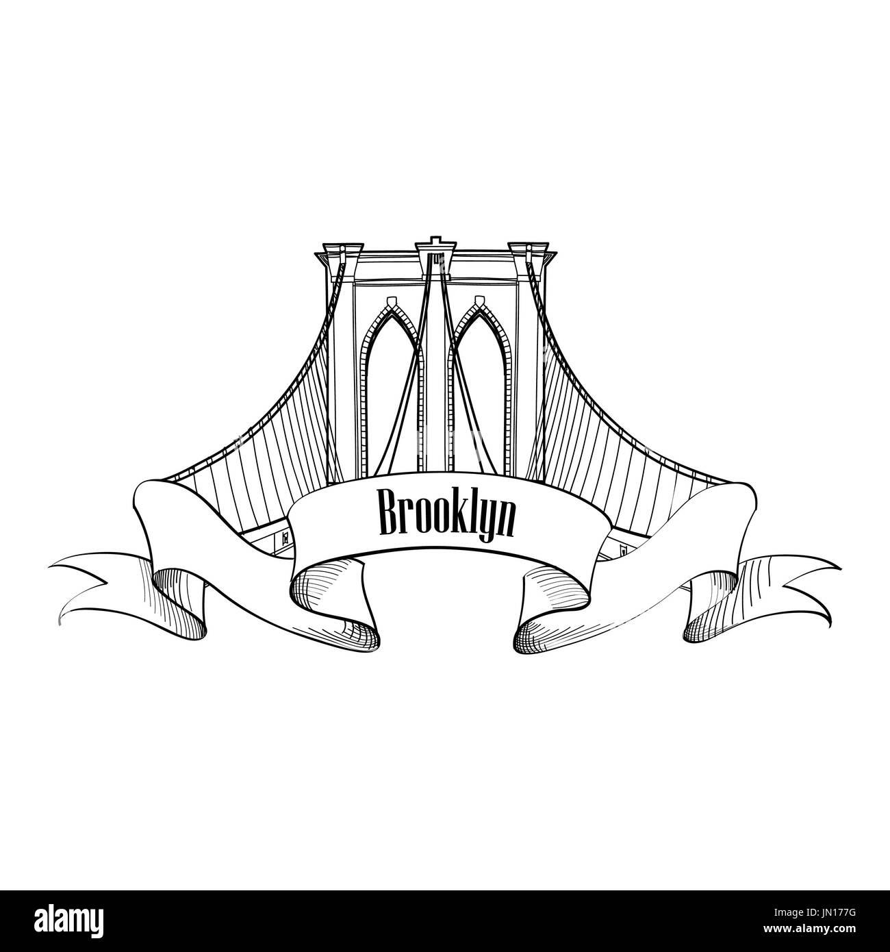 New York Brooklyn Bridge Symbol. Label Design - Stock Image