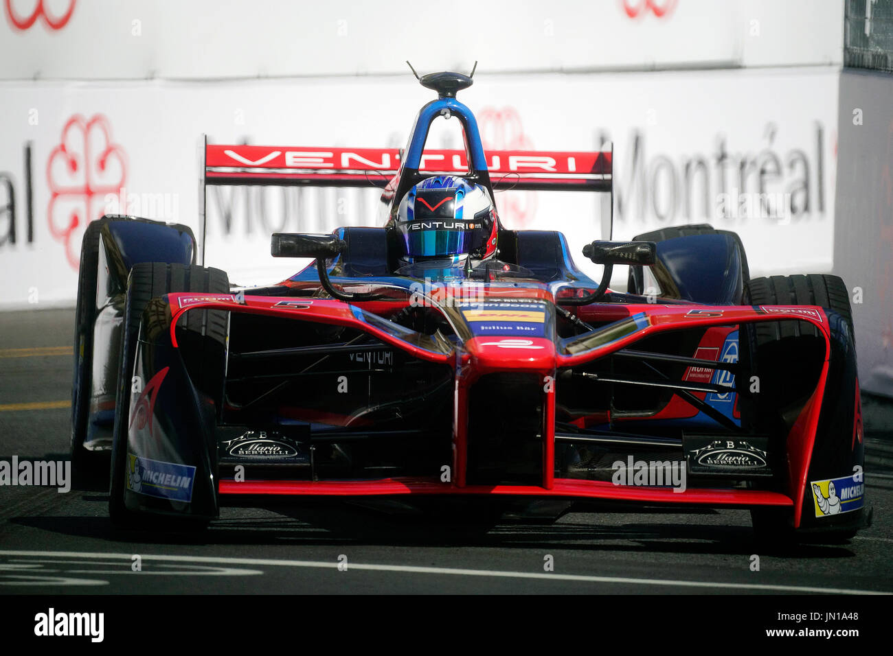 Montreal,Canada 28 July,2017. Formula E drivers trying out for the first time Montreal's urban race circuit through the city's downtown core.Credit:Mario Beauregard/Alamy Live News - Stock Image