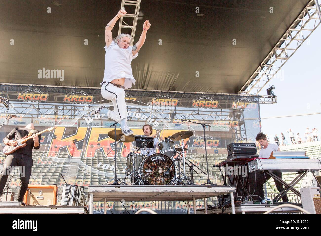 Carson, California, USA. 20th May, 2017. BRIAN MACDONALD, JUDAH AKERS, SPENCER CROSS and DANIEL WEATHERBY of Judah and the Lion during KROQ Weenie Roast Y Fiesta at StubHub Center in Carson, California Credit: Daniel DeSlover/ZUMA Wire/Alamy Live News - Stock Image