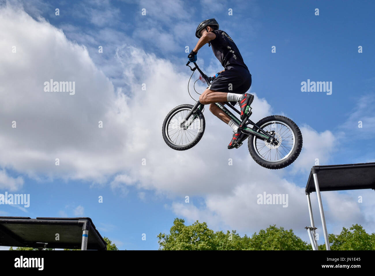 London, UK.  29 July 2017.  Members of the Andrei Burton stunt riding team take part in the London Trials Championships in Green Park tackling a course made up of tricky obstacles.  The event is part of Prudential RideLondon FreeCycle, a three day celebration of cycling taking place in the capital with over 100,000 people participating over the weekend.   Credit: Stephen Chung / Alamy Live News - Stock Image