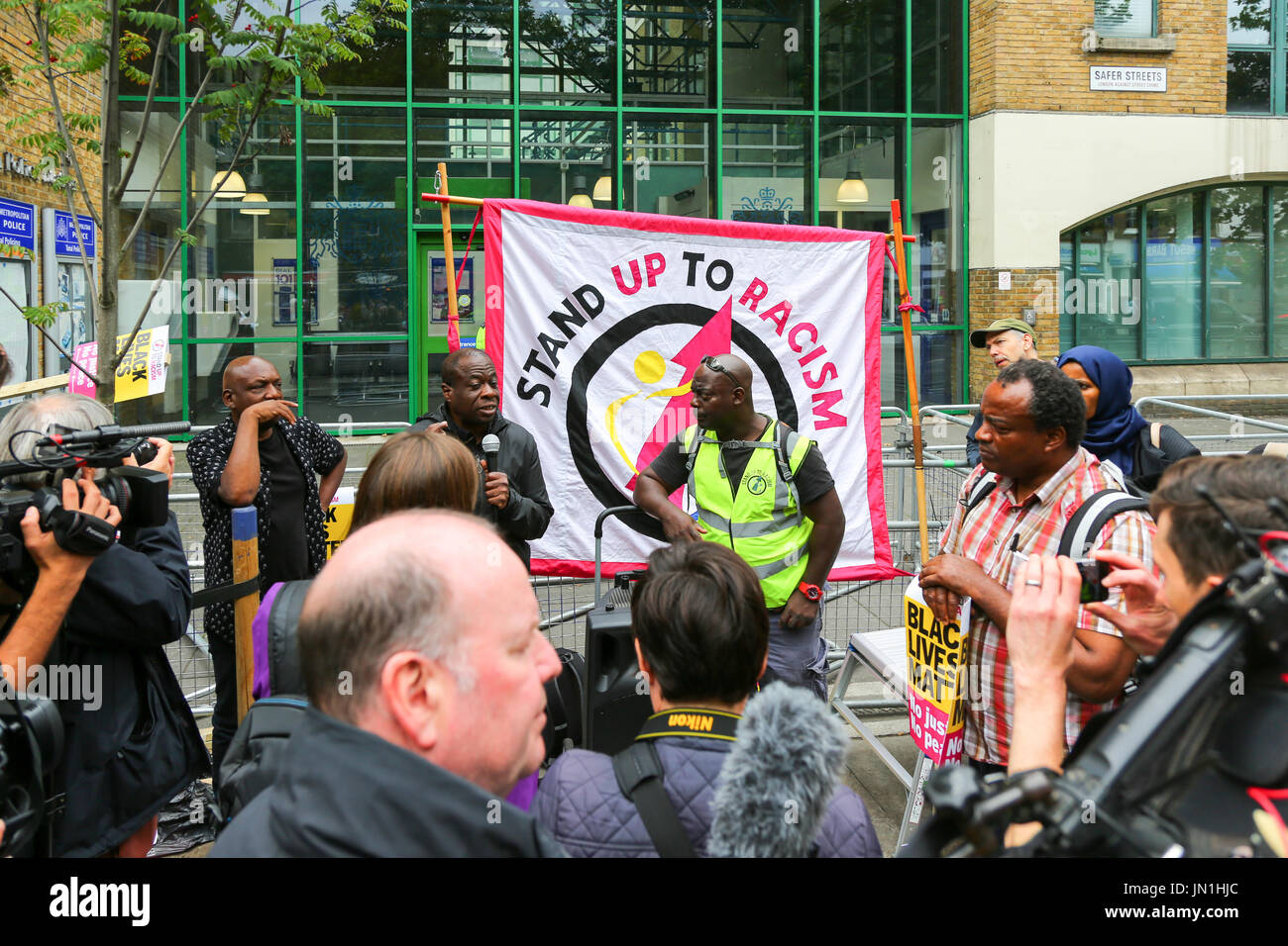 London, UK. 29th Jul, 2017. Protest and vigil for Rashan Charles outside Stoke Newington police station who died after being chased and arrested by police. Penelope Barritt/Alamy Live News - Stock Image