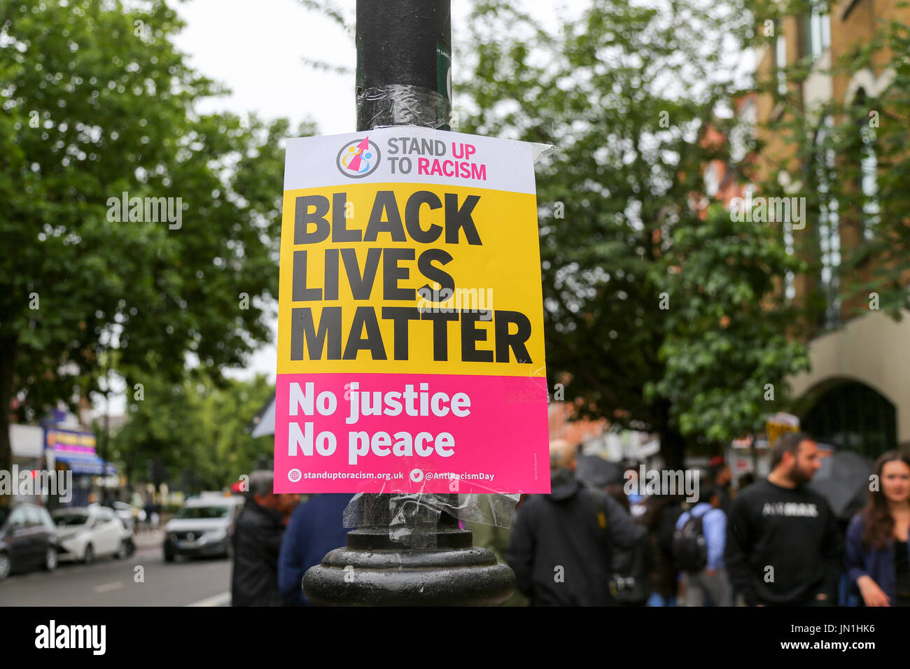 London, UK. 29th Jul, 2017. A Black Lives Matter poster. Protest and vigil for Rashan Charles outside Stoke Newington - Stock Image