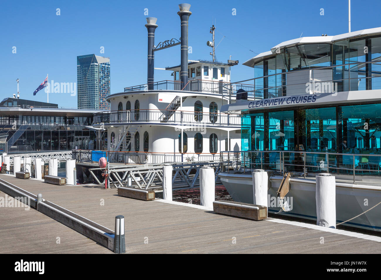 Darling harbour and marina in Sydney city centre,New South Wales,Australia - Stock Image