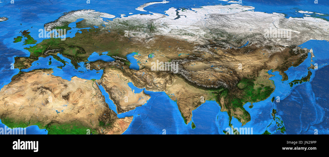 Map of Eurasia. Detailed satellite view of the Earth and its landforms, focused on Europe and Asia. Elements of this image furnished by NASA - Stock Image