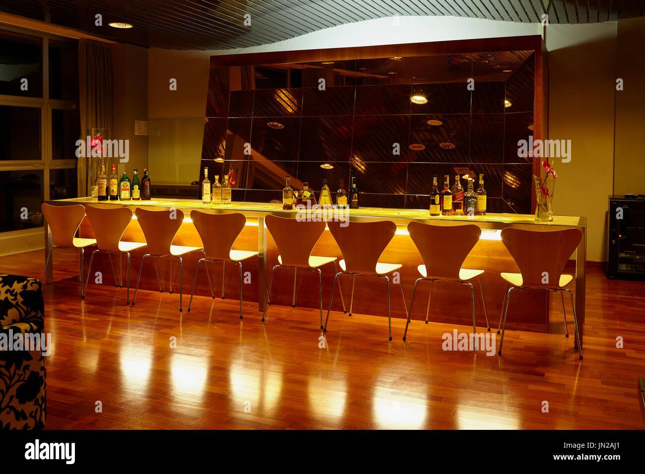 CARAMANICO, ABRUZZO, ITALY   NOVEMBER 22, 2014: Elegant Lounge Bar Inside La