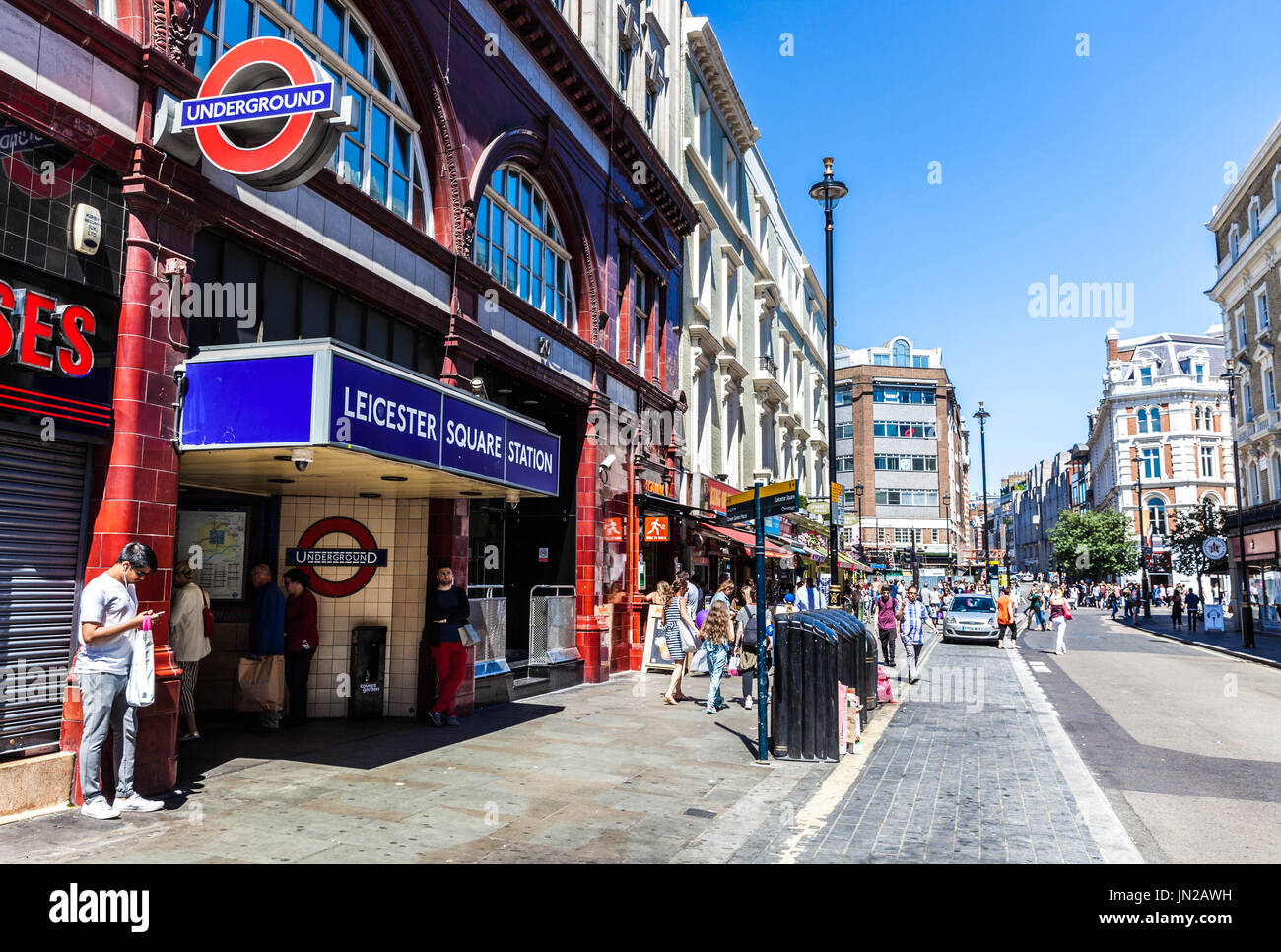 Leicester Square underground station, Cranbourn street, Soho, London, WC2H, England, UK. - Stock Image