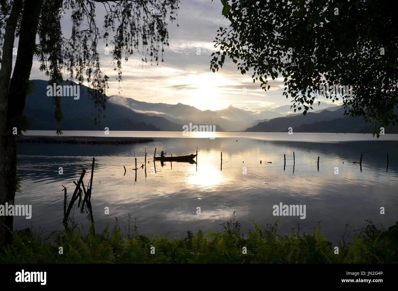 Fewa lake Pokhara Nepal. - Stock Image