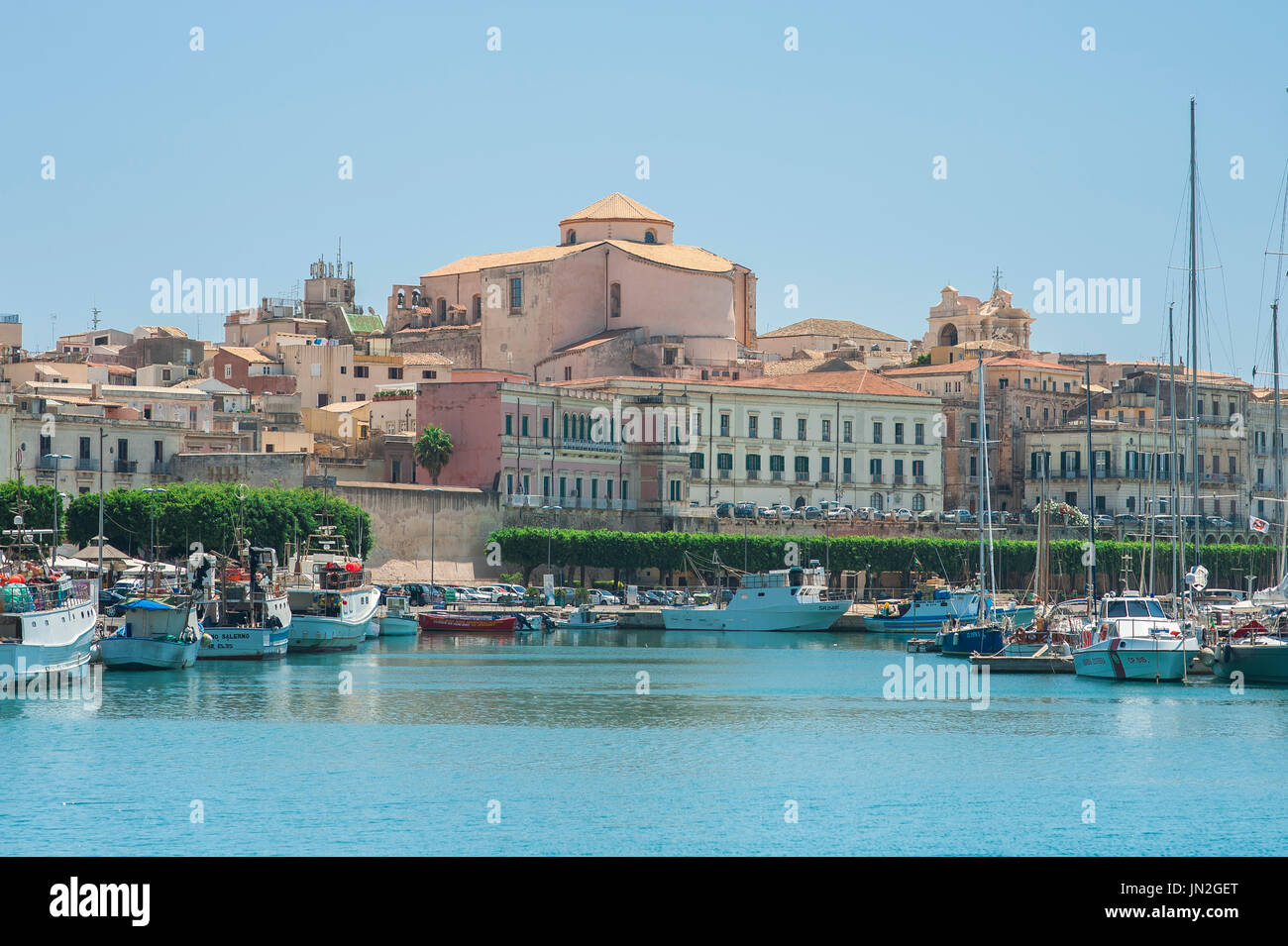 Sicily east coast, skyline of Ortigia island, part of the city of Syracuse, (Siracusa) in Sicily. - Stock Image
