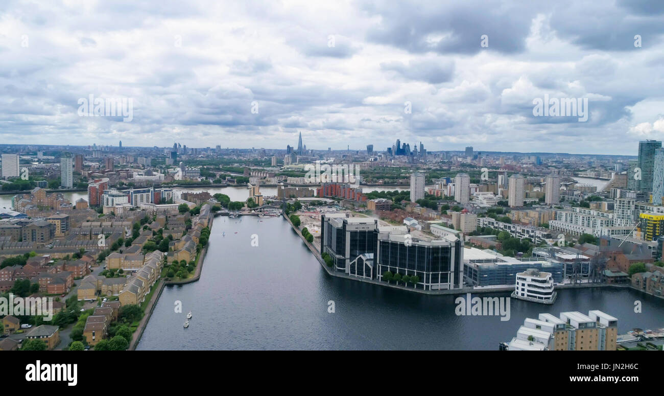Aerial view of the Millwall outer dock in the financial district of the Docklands in London - Stock Image