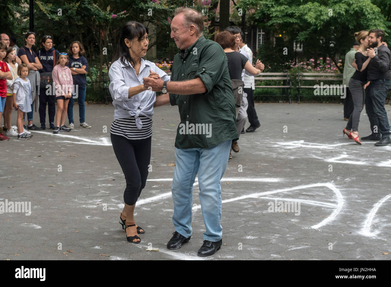 How To Learn Dance Stock Photos Tango Steps Diagram New York Ny 25 July 2017 A Couple Dancing The On Summer