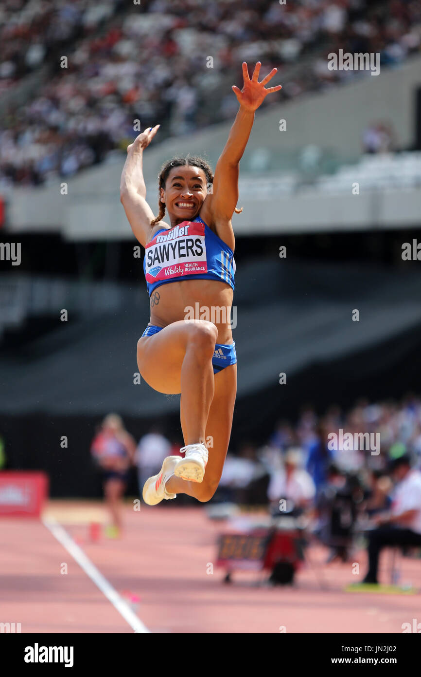 Jazmin SAWYERS competing in the Women's Long Jump at the 2017 IAAF Diamond League Anniversary Games, Olympic Park, London, UK. - Stock Image