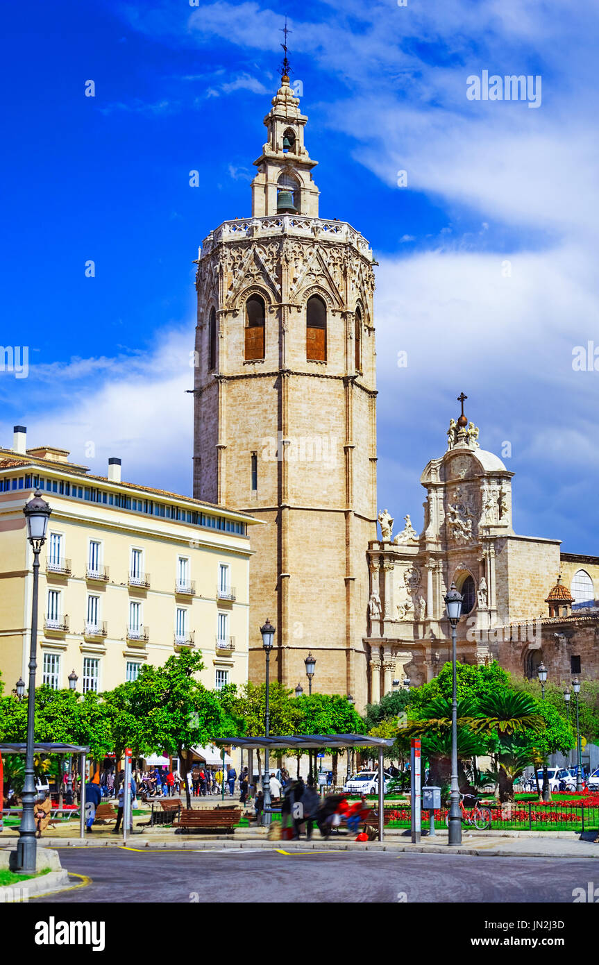Micalet tower, Miguelete tower in Plaza de la Reina, Valencia, Spain, Europe Stock Photo