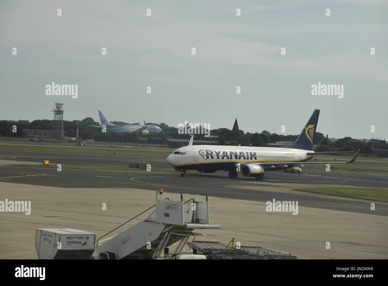 Ryanair Boeing 737  at London Gatwick Airport Crawley Sussex England UK - Stock Image