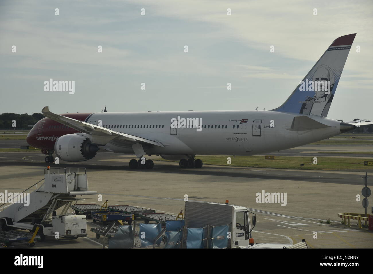 Norwegian Airlines Boeing 787 Dreamliner at London Gatwick Airport Crawley Sussex England UK - Stock Image
