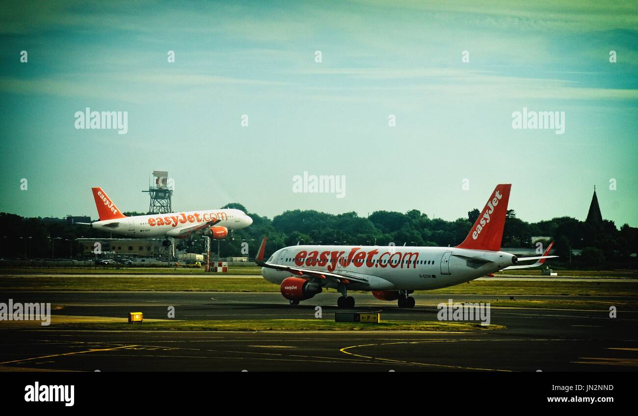 Easyjet aircraft at London Gatwick Airport Crawley West Sussex UK - Stock Image