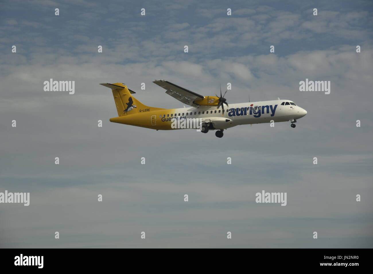 An ATR 72 500 of Channel Islands based Aurigny Airlines arrives at London Gatwick Airport from Guernsey. Stock Photo