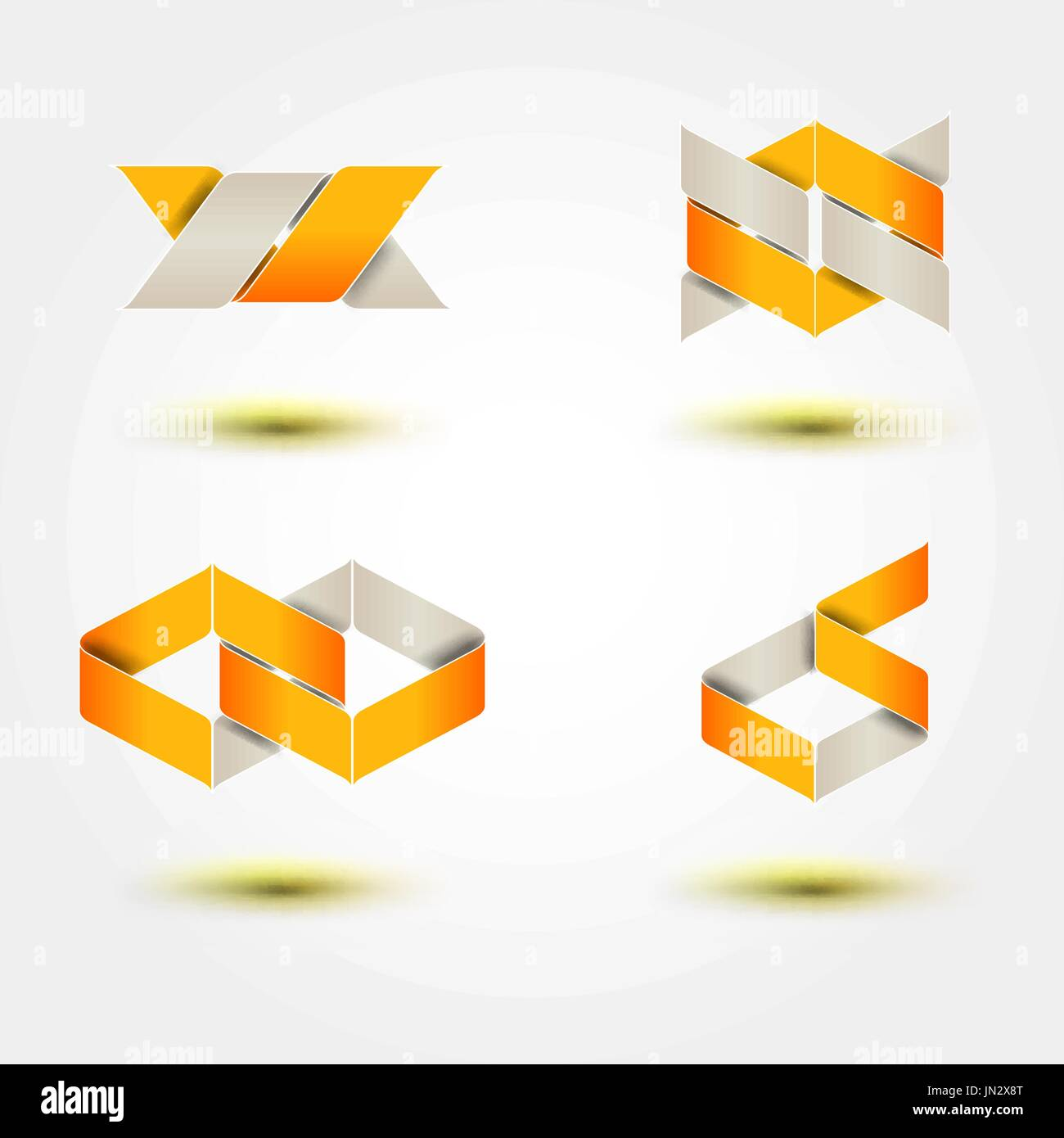 Set of symbol and shapes. Trendy icons and logotypes. Business signs symbols, labels, badges, frames and borders - Stock Image