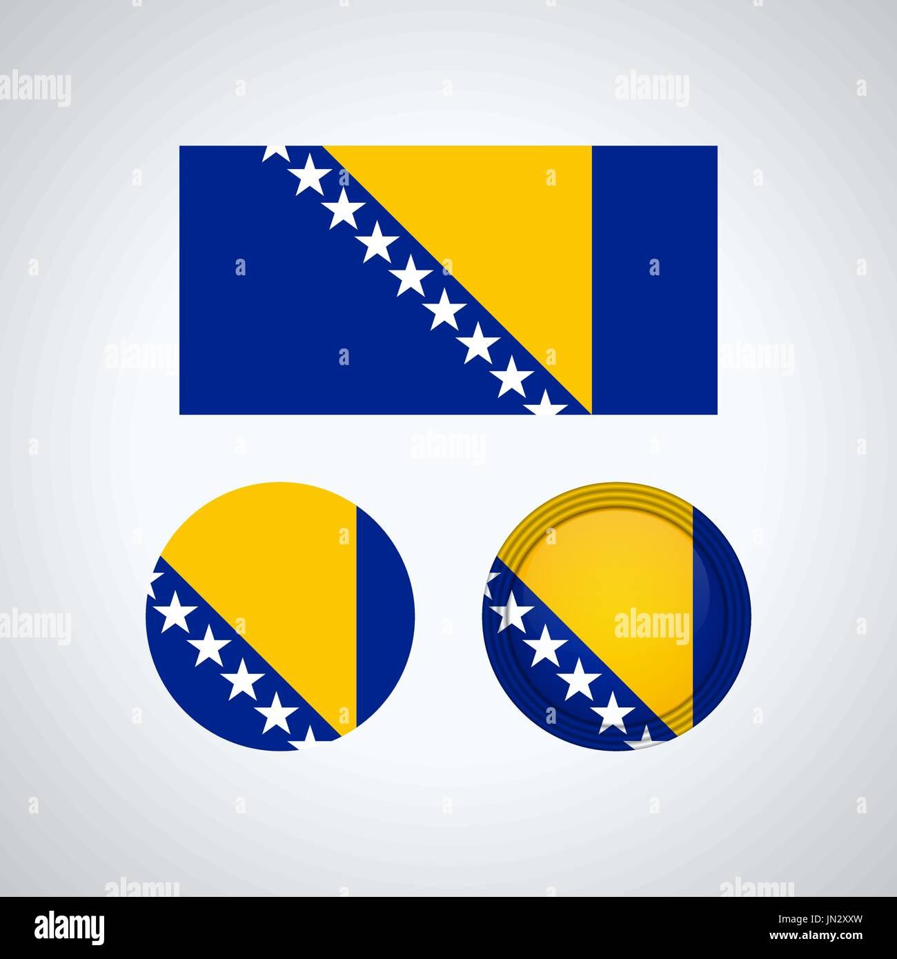 Flag design. Bosnia Herzegovina flag set. Isolated template for your designs. Vector illustration. - Stock Vector