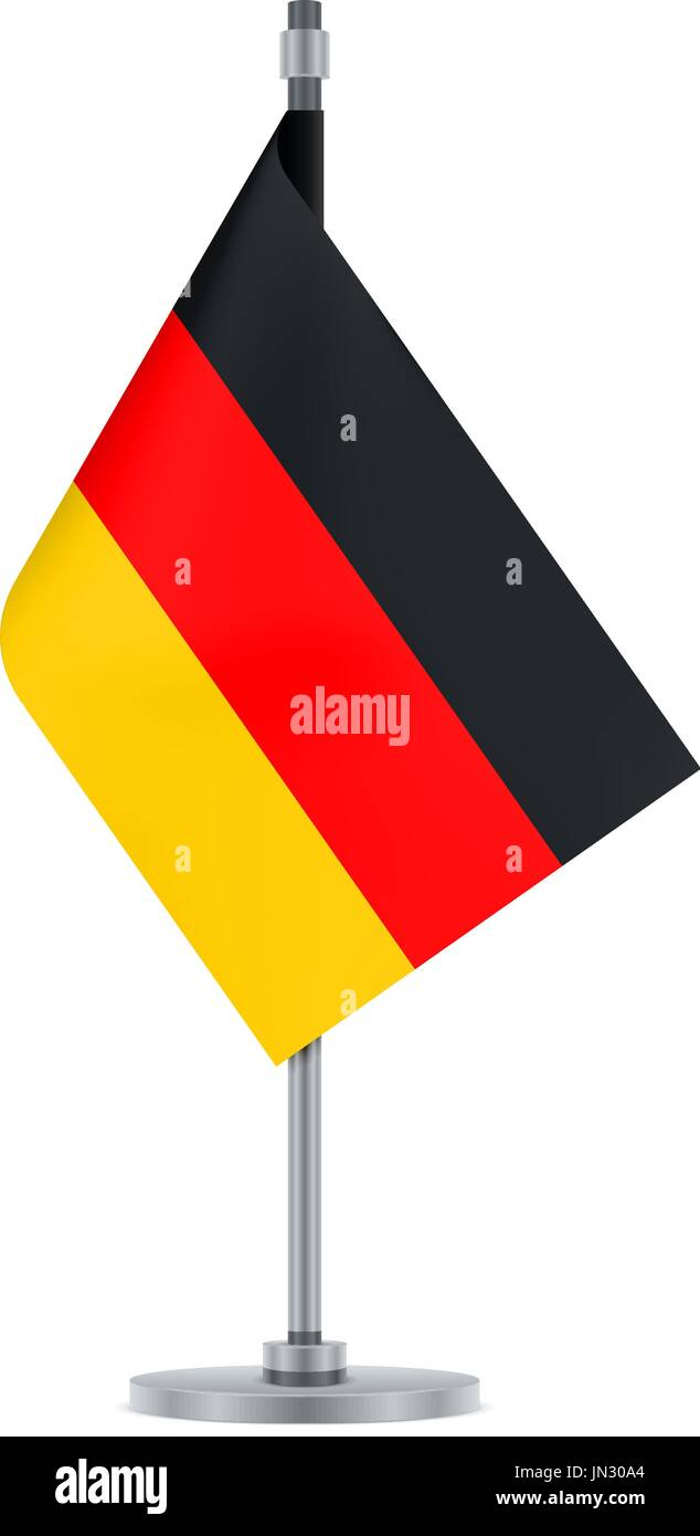 Flag design. German flag hanging on the metallic pole. Isolated template for your designs. Vector illustration. - Stock Vector