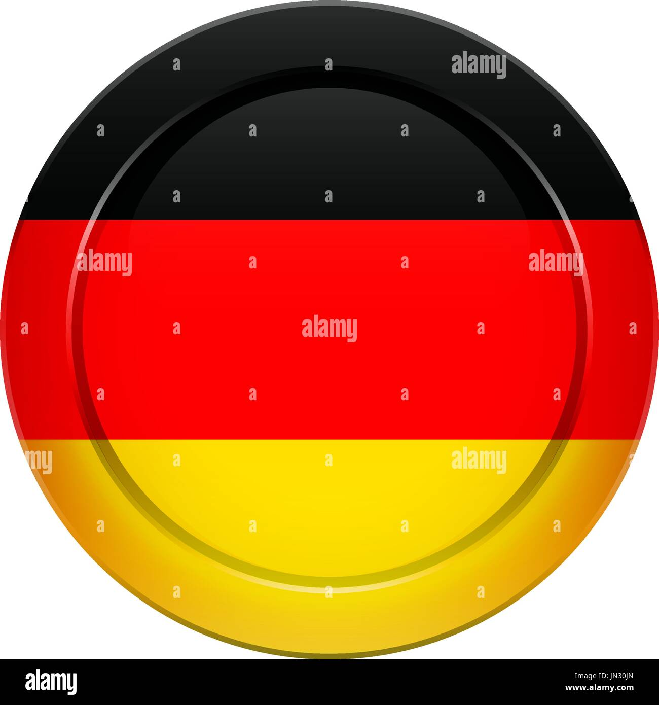 Flag button design. German flag on the round button. Isolated template for your designs. Vector illustration. - Stock Vector
