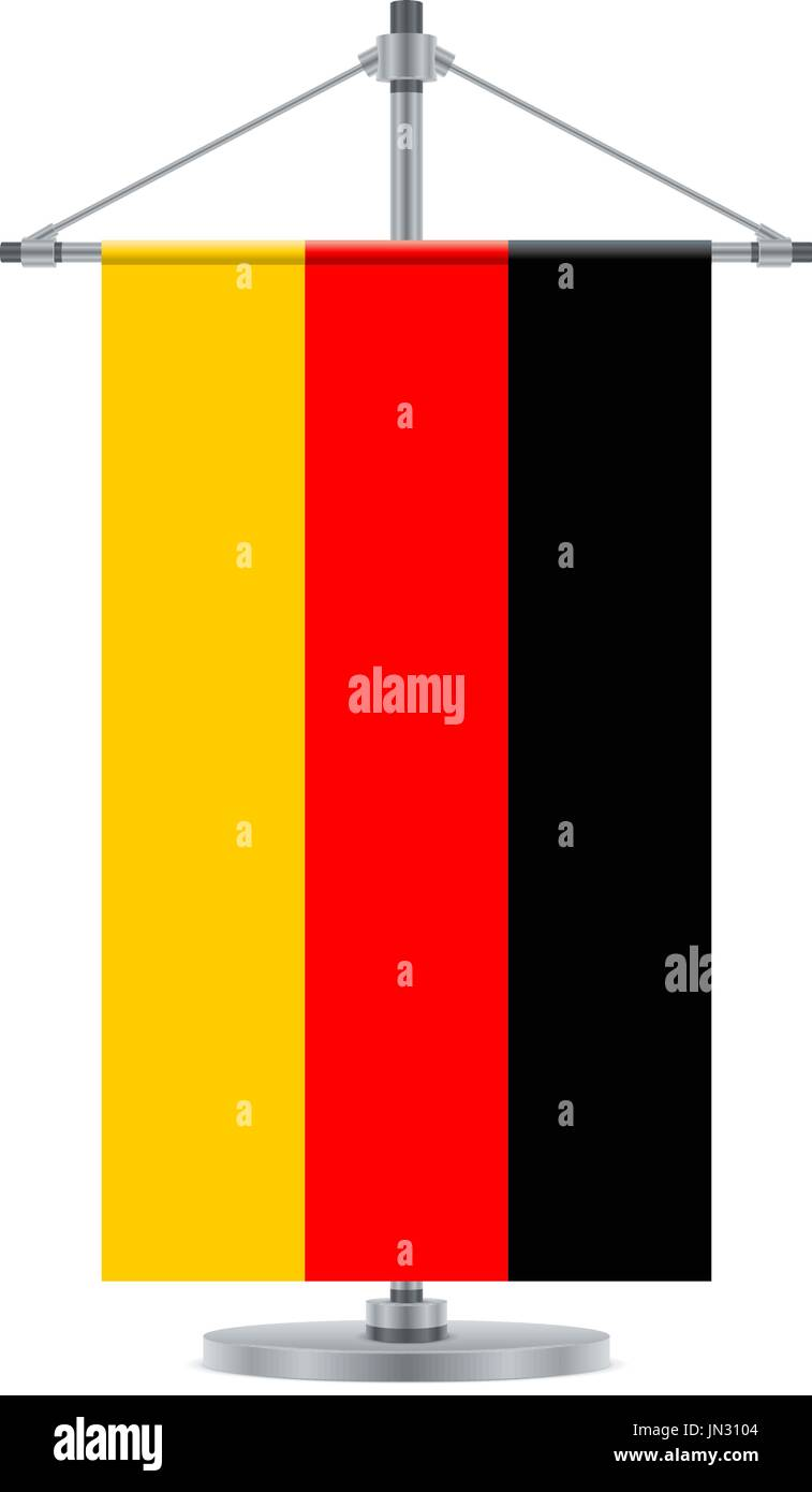 Flag design. German flag on the cross metallic pole. Isolated template for your designs. Vector illustration. - Stock Vector