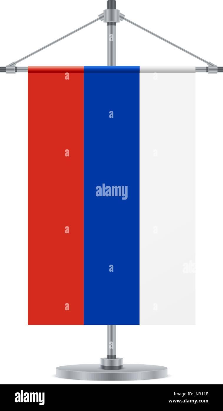 Flag Design Russian Flag On The Cross Metallic Pole Isolated Stock
