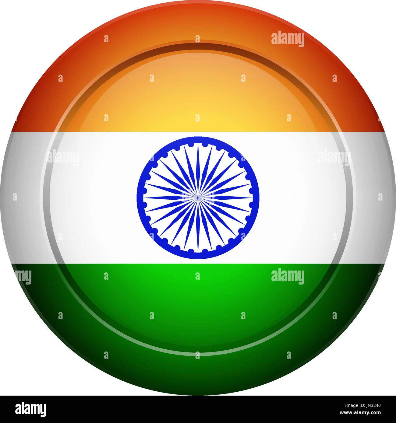 Flag design. Indian flag on the round button. Isolated template for ...
