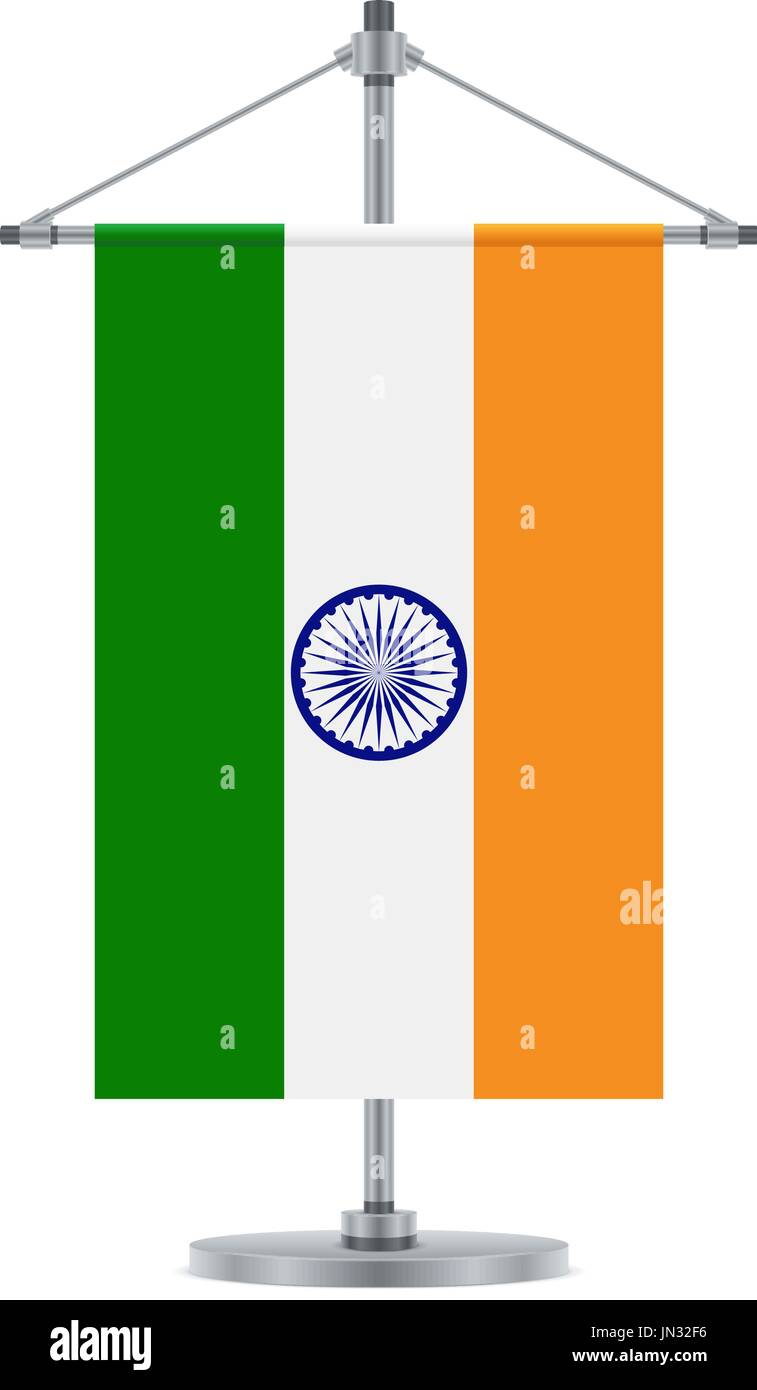 Flag design. Indian flag on the metallic cross pole. Isolated Stock ...